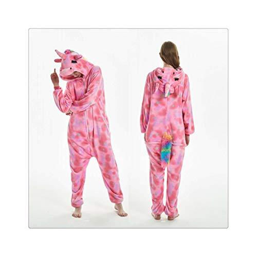 s Pajamas Sets Flannel Animal Cartoon Sleepwear Stitch Pyjamas for Women Adult Halloween Hooded Pajamas Pink Star Unicorn L ()