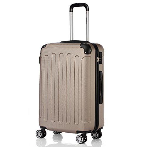 2045 Reisekoffer Koffer Trolley Hartschale XL-L-M in 10 Farben (Champagner, M)