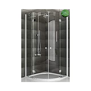 Shower Cubicle 6 mm Easyclean Glass Shower Enclosure 100X100X195 cm Round with Nano Glass