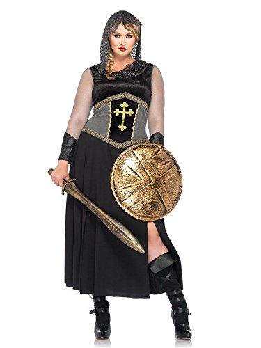 Kriegerin Kostüm Übergröße - Mittelalter Kriegerin Damenkostüm Ritter Übergrößen schwarz silber XXL