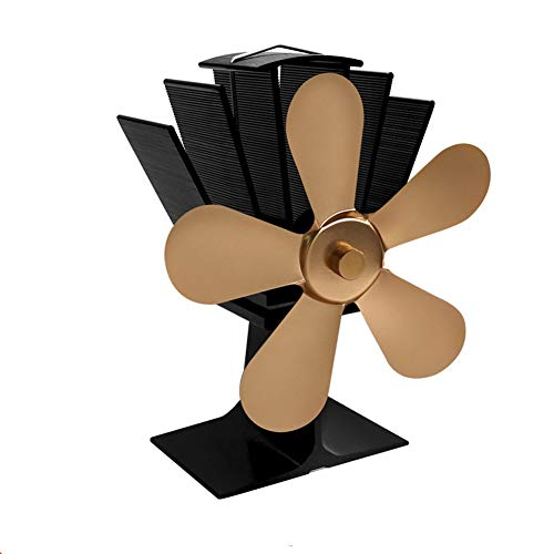 Hitze Powered Wood Stove Fan, Home Large Thermal Power Ultra Quiet Wood Log Burner Fireplace Eco-Friendly Fans Thermal Power Heater,Gold,5Blades -