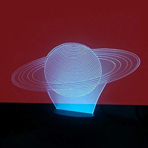 Likaxyd 3D Illusion Lampe Led Nachtlicht,Mit 7 Farben Flashing & Touch-Schalter Usb Powered,Geben Sie Ihrem Kind Das Beste Geburtstagsgeschenk Und Weihnachtsgeschenk-Saturn Aura