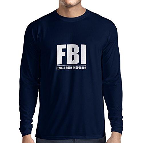 Langarm Herren t Shirts FBI - Weiblicher Körper Inspektor - lustige Geschenke für Männer, Humorvolle Zitate (Small Blau Weiß)