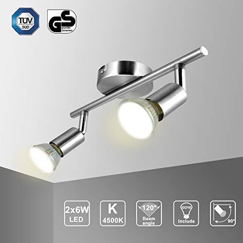 KetomLámpara de techo para LED con 2 Focos Adjustable - Lámpara de pared Plafón giratorio con 2 bombillas...