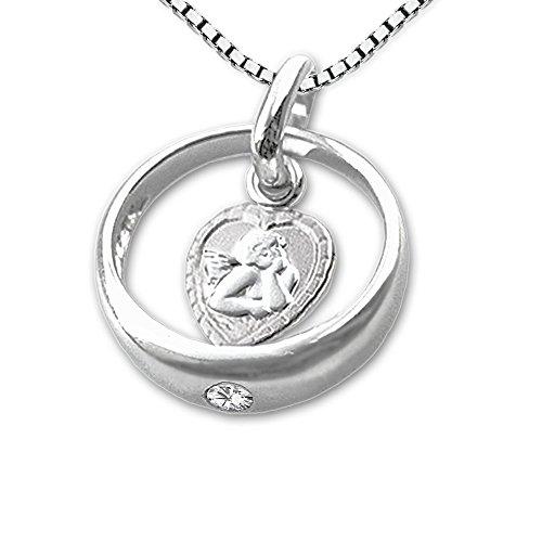 CLEVER SCHMUCK-SET Silberner Taufring Ø 12 mm mit einem Zirkonia weiß und innen Engel herzförmig sowie Kette Venezia 36 cm STERLING SILBER 925