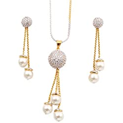 Cardinal Gold American Diamond Necklace Earrings Jewellery Set For Women