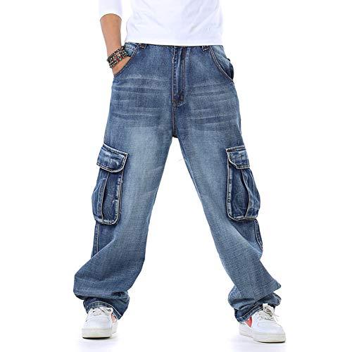 SFSF Männer Jeans Lose Hose mit vielen Taschen Große Größe Mittlere Taille Baumwolle Mikrobombe Hose Gerade Freizeit Reißverschlussöffnung Männer Jeans,46 -