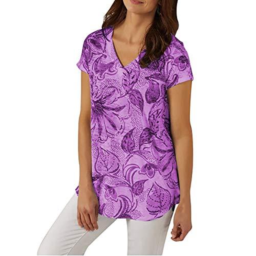 TOPSELD T Shirt Damen, Art Und Weise Frauen Sommer BeiläUfige V-Ausschnitt Print, Kurzarmshirts T-Shirt