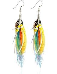 LUFA Boucles d'oreilles en plumes colorées Boucles d'oreilles Pendentif Boucles d'oreilles Boucles d'oreilles Boho Folk Style
