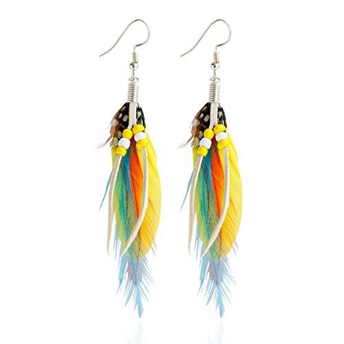 Pendientes de plumas amarillas y otros colores