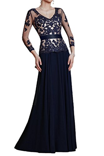Ivydressing Damen Lang Aermel V-Ausschnitt Spitze Lang Chiffon&Tuell Festkleid Ballkleider Abendkleid Dunkelblau