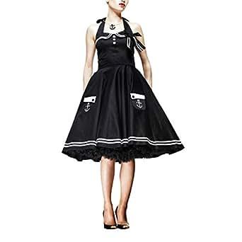Rockabilly 50ziger Jahre Kleid Motley im Matrosentsil von Hell Bunny London mit Neckholdern schwarz - S