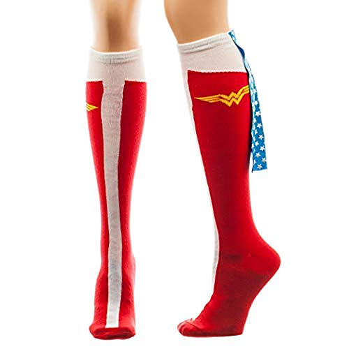 Meroncourt DC Comics Wonder Woman Caped Boots Women's Knee High Socks, Calcetines Altos para Mujer, 100 DEN, Rosso, Talla única