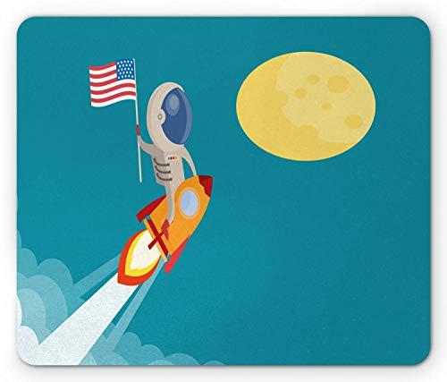 Alien Mouse Pad, Cartoon der amerikanischen Flagge Held Astronaut Reiten Einer Rakete zum Mond, Standardgröße Rechteck rutschfeste Gummi Mousepad, Sea Blue und Multicolor,Gummimatte 11,8