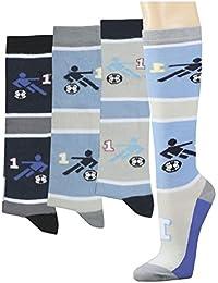 Kinder-Kniestrumpf 'Fußball', 3er Pack, Größe:31-34, Farbe:Blau/Grau
