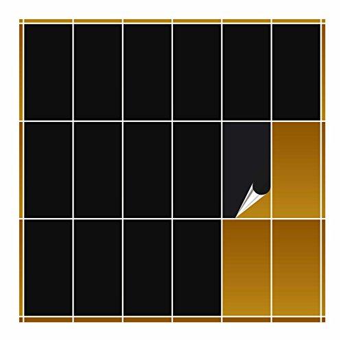 FoLIESEN Fliesenaufkleber 10x20 cm - Fliesen-Folie Bad - Klebefolie Küche - schwarz matt - 20 Klebefliesen
