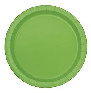 Unique Party Paquete de 8 platos de papel Color verde lima 23 cm 31375