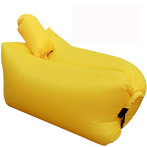 HDWN Divano da pigro aria portatile pieghevole portatile all'aperto coperta sedile gonfiabile (L * w: 145 * 70cm) , yellow