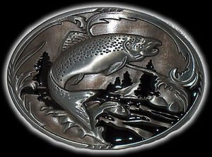 Salmon Pike Pickerel Bass Trout Fishing Boat Worms New Belt Buckle by Buckle (Worms Trout)