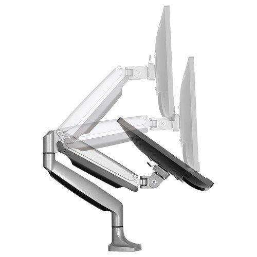"Rife Elegant Aluminium Monitor Stand Gas Spring Desk Full Motion Swivel LED LCD Arm Mount for 13""-32"" Computer Monitor TV Screens (Silver)"