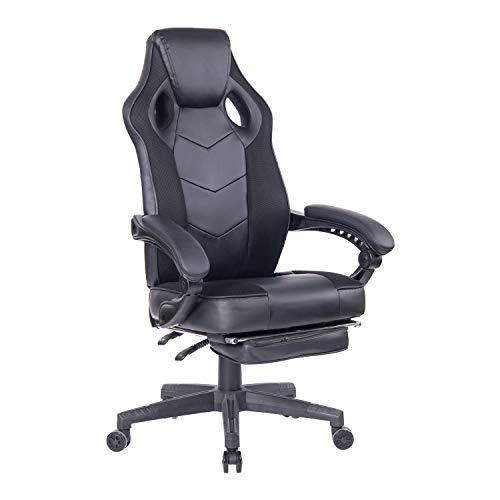 Wolmic Racing Stil Gaming-Stuhl mit Fußstütze E-Sports Höhe Rücken Ergonomischer Computer Schreibtisch Leder Bürostuhl mit Verstellbarer und gepolsterter Kopfstütze (9013Schwarz)