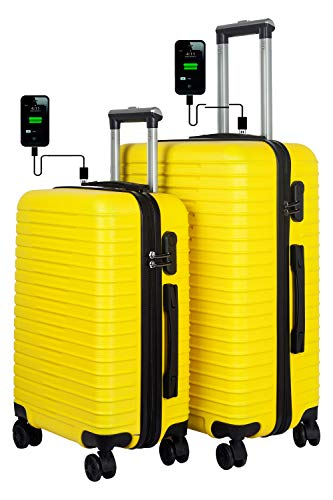 3G Atlantis Smart Series USB Charging 4 Wheel Hard Sided Luggage Set of 2 Trolley Travel Bags (20inch / 55cm + 24inch / 65cm) Suitcase SMT1