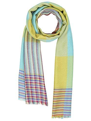 Kashfab kashmir womens mens inverno moda checks sciarpa, lana seta stole, morbido lungo scialle, caldo pashmina blu giallo