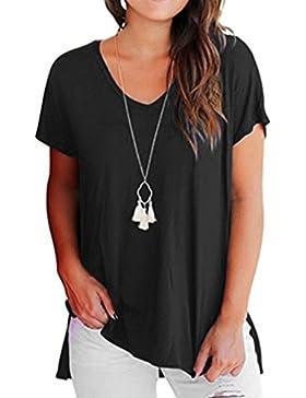 Yeamile💋💝 Camiseta de Mujer Tops Negro Blusa Causal Ocasionales Camiseta Manga Corta para Mujer Tops Básica...