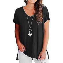 Yeamile Camiseta de Mujer Tops Negro Blusa Causal Ocasionales Camiseta Manga Corta