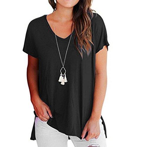 Yeamile Camiseta de Mujer Tops Negro Blusa Causal Ocasionales Camiseta Manga Corta para Mujer Tops Básica Blusa Llano Casual (Negro, XXL)