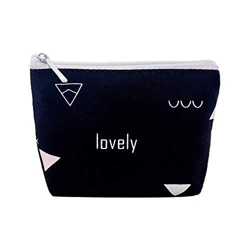 TLZR Damen Geldbörse geometrische Muster Mini Geldbörse Geldbeutel für Münze, Kreditkarte, ID-Karte, Schlüssel, Headset, Lippenstift Black -