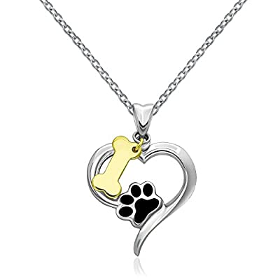 925 Sterling Silver Pet Puppy Dog Paw Print Heart and 18k Gold Bone Pendant Necklace 18""