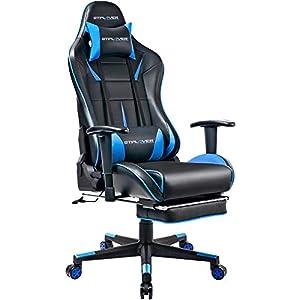 GTPLAYER Gaming Stuhl Bürostuhl Schreibtischstuhl Kunstleder Gamer Stuhl Drehstuhl höhenverstellbarer PC Stuhl Ergonomisches Design mit Fußstütze und Wippfunktion