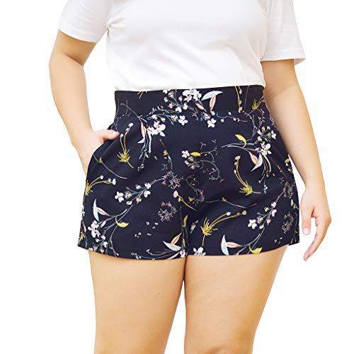 TIZUPI Sommer Shorts Damen Größe Lässig Druck Hohe Taille Tasche Mini Bein Shorts Breite Hosen Kurze Hohe Taille Sommer Lässig Strand Hosen(schwarz,XL)