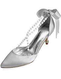 82599ef078b Zxstz Zapatos de Mujer Zapatos de satén de la Boda Cono talón del Dedo del  pie