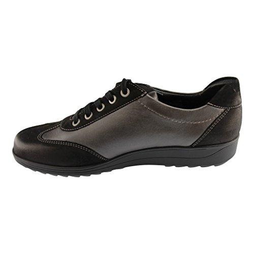Sneakers ara in pelle e nabuk nero piombo per donna schwarz
