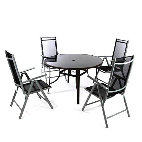 Nexos 5-Teiliges Gartenmöbel-Set – Gartengarnitur Sitzgruppe Sitzgarnitur aus Klapplstühlen & Esstisch Rund – Aluminium Kunststoff Glas – Braun/Schwarz (Glas-esstisch Set Esstisch)
