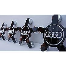 4 tapas de llanta, Audi, 72 mm, gris/cromo