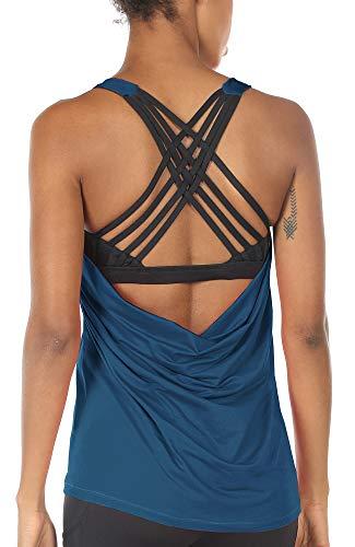 Frauen Kreuz Zurück Bh-top (icyzone Damen Sport Tops mit Integriertem BH - 2 in 1 Yoga Gym Shirt Fitness Training Tanktop (L, True Blue))