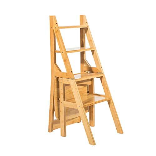 SHKUU Holzfarbe 4 Trittleiter Hocker Multifunktions Dual-Use Klappstuhl Haushalt Trittleiter Treppenstuhl für Erwachsene Kinder, Höhe 90CM -