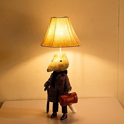 Schreibtischlampe für Kinder, Nachttischlampe Haushalt Restaurant Cafe Bar Dekoration Tischlampe lesen Studium und Büro Stoff Puppe,Gray