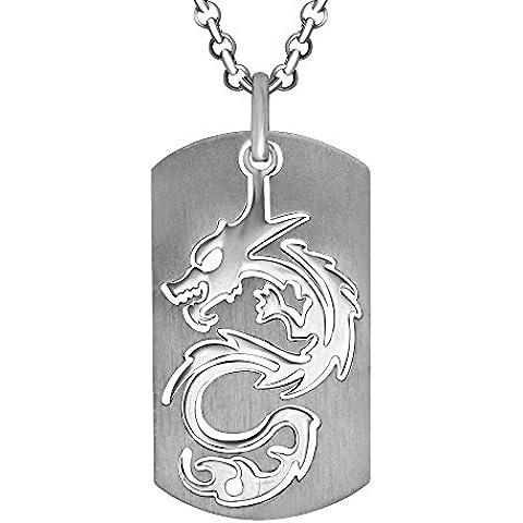 Retro Personalidad Militar Titanio De Acero Dragón Tallado Regalo Los Hombres Collar Pendiente (Colgante Solamente)
