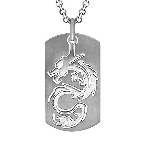 Rétro Personnalisé Militaire Acier au Titane Dragon Gravé Cadeau Hommes Collier Pendentif (Pendentif Seulement)