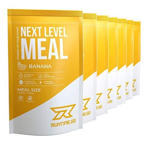 Runtime Next Level Meal Banane - vollwertiger Mahlzeitersatz für langanhaltende Sättigung, Energie, Konzentration und Leistungsfähigkeit, mit Vitaminen und Nährstoffen, 7 x 150g