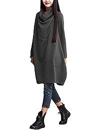 ZANZEA Femme Coton Amples Col Bénitier Tempérament Elegant Manches Longues Robe Longue Maxi