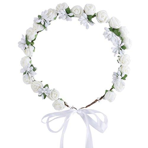 sourcingmap® Fête mariage Tricot Mousse Rose Fleur artificielle Décoration Garland