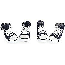 Zapatos para perros - TOOGOO(R)Zapatos para perros de lona de estilo casual botas calidas 4# azules