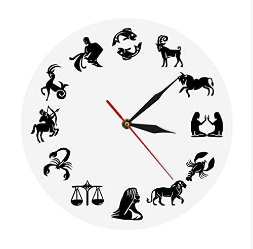 Astrologia arte orologio da parete segni zodiacali camera da letto nuesery decorazione da parete orologio da parete moderno segno zodiacale orologio orologio regalo bianco 30x30cm