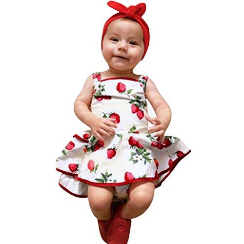 eidung Kleinkind Kinder, DoraMe Baby Mädchen Strawberry Druck Princess Kleid ärmellose Mode Party Kleid 2018 Neue Verband Sommerkleid für 1-3 Jahr (Weiß, 12 Monate) (Kinder Süßes Kleid)