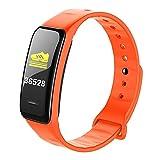 Nanle Ultradünnes Sportarmband Intelligente Fitness Farbmonitor dynamische Herzfrequenzmessung Bluetooth Schrittzähler Präzisionsmessung Portable (Farbe : Orange)